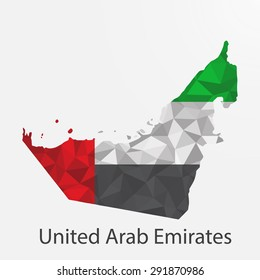 United Arab Emirates flag map in geometric,mosaic polygonal style.Abstract tessellation,background. Vector illustration EPS10