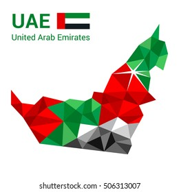 United Arab Emirates flag map in polygonal geometric style. Vector illustration of United Arab Emirates, UAE map in geometric polygonal style, with Dubai marked with a star.