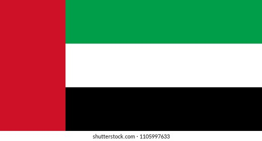 United Arab Emirates flag with official colors and the aspect ratio of 1:2. Flat vector illustration.