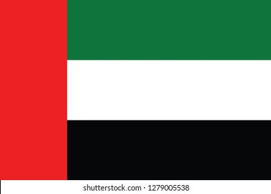 United Arab Emirates flag, official colors and proportion correctly. National United Arab Emirates flag. Vector illustration. EPS10. UAE flag vector icon, simple, flat design for web or mobile app
