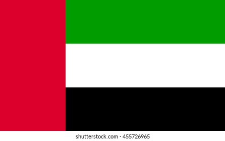United Arab Emirates Flag, official colors and proportion correctly.