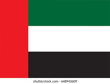 United Arab Emirates flag official colors and proportion correctly or National Flag of United Arab Emirates with vector illustration design or National Flag of United Arab Emirates vector background