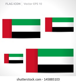United Arab Emirates flag template   vector symbol design   color red green white and black   icon set