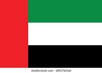 United Arab Emirates flag vector graphic. Rectangle Emirati flag illustration. United Arab Emirates country flag is a symbol of freedom