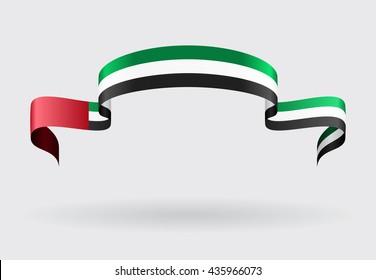 United Arab Emirates flag wavy abstract background. Vector illustration.