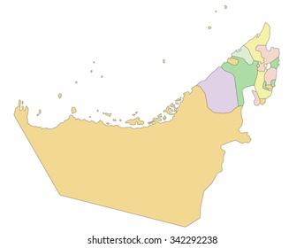 United Arab Emirates - Highly detailed editable political map.