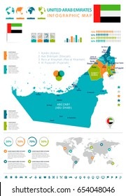 United Arab Emirates info graphic map and flag - highly detailed vector illustration