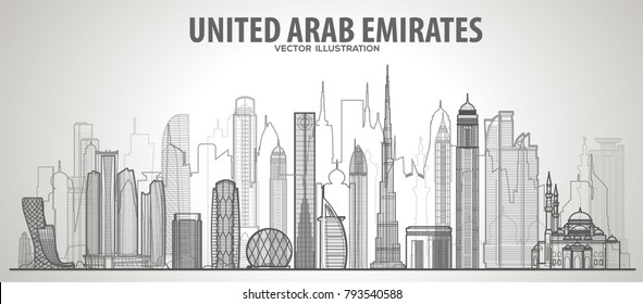 United Arab Emirates line  skyline illustration on a white background. Flat vector illustration. Business travel and tourism concept with modern buildings. Image for banner or web site