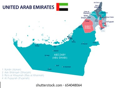 united arab emirates map and flag highly detailed vector illustration