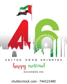 United Arab Emirates National day, Illustration, 46th anniversary, UAE, Vector.