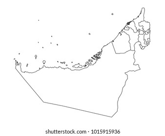 map united arab emirates separable borders stock vector royalty UAE Map united arab emirates outline map detailed isolated vector country border contour map on white background