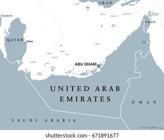 United Arab Emirates political map with capital Abu Dhabi. UAE, Emirates, a monarchy in Western Asia on northeastern coast of Arabian Peninsula. Gray illustration over white. English labeling. Vector.