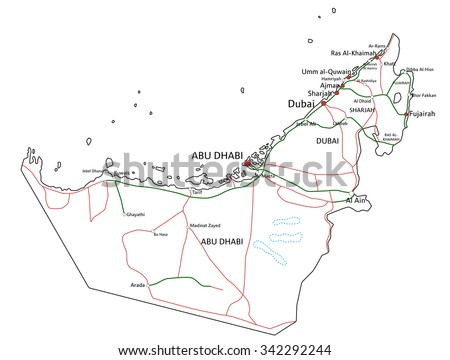 United Arab Emirates road and highway map. Vector illustration.