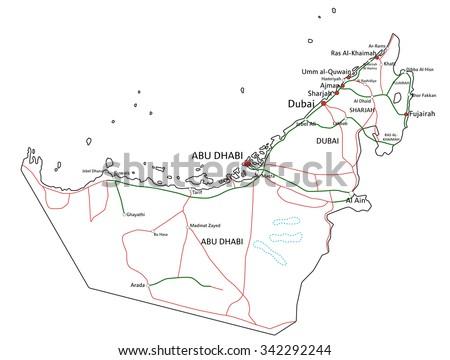 united arab emirates road highway map stock vector royalty free Kuwait World Map united arab emirates road and highway map vector illustration