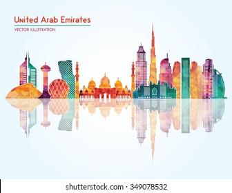 United Arab Emirates skyline detailed silhouette. Vector illustration