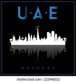 United Arab Emirates, skyline silhouette vector design on parliament blue and black background.