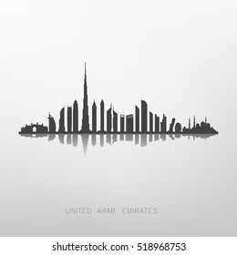 united arab emirates skyline silhouette ,Dubai and Abu dhabi buildings
