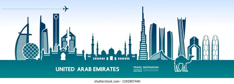 United Arab Emirates Travel Destination vector.