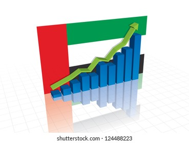 United Arab Emirates (UAE) dirham, and stocks trading up economic recovery vector graph