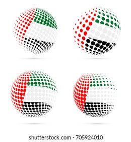 United Arab Emirates, UAE halftone flag set patriotic vector design. 3D halftone sphere in national flag colors isolated on white background.