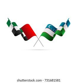 United Arab Emirates and Uzbekistan flags. Vector illustration.