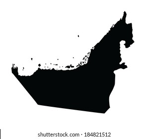 united arab emirates vector map silhouette isolated on white background high detailed illustration middle