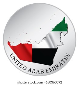 United Arab Emirates Vector Sticker With Flag and Map. Label, Round Tag With Country Name.