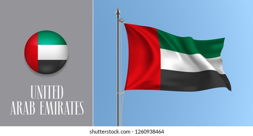United Arab Emirates waving flag on flagpole and round icon vector illustration. Realistic 3d mockup of stripes of UAE flag and circle button