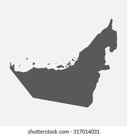 United Arab Emirates,UAE grey country border map.