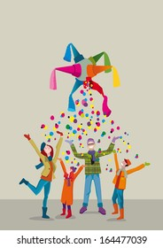 A united family celebrates Christmas with joy and gratitude gesture under a rain of confetti.
