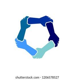united hand logo vector