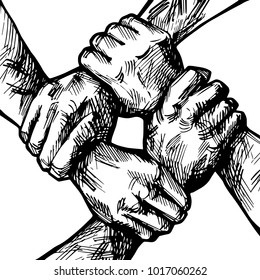 United hands together ink illustration. Coordination, international multiracial, mixed race people hand holding each other in unity. Business group collaboration. Team concept.