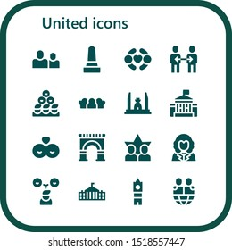 united icon set. 16 filled united icons.  Collection Of - Friends, Monument, Friendship, Democracy monument, White house, Arch, George washington, Big ben icons