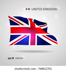 United Kingdom 3D style glowing flag fluttering on the wind. EPS 10 vector created using gradient meshes isolated on light background. Shiny design element from world flags collection