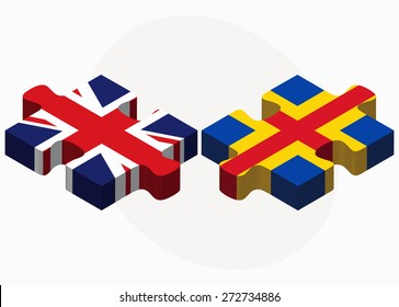 United Kingdom and Aaland Islands Flags in puzzle isolated on white background