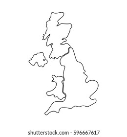 Blank Map Of England Scotland And Wales.Simple Uk Map Vector Stock Vectors Images Vector Art