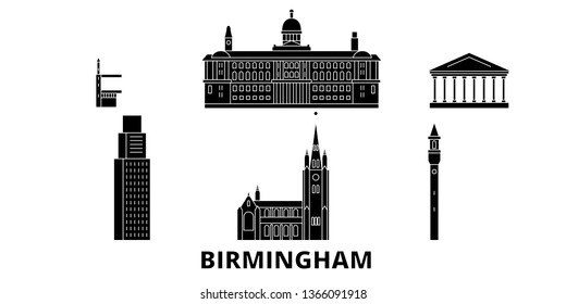 United Kingdom, Birmingham flat travel skyline set. United Kingdom, Birmingham black city vector panorama, illustration, travel sights, landmarks, streets.