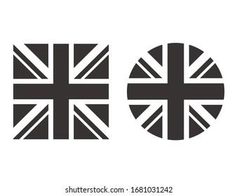 United Kingdom black white flag isolated set. Vector flat graphic design isolated illustration