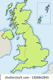 United Kingdom blank map vector - copyspace for news.