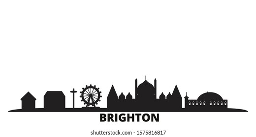 United Kingdom, Brighton city skyline isolated vector illustration. United Kingdom, Brighton travel black cityscape