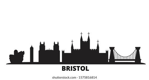 United Kingdom, Bristol city skyline isolated vector illustration. United Kingdom, Bristol travel black cityscape