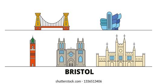 United Kingdom, Bristol flat landmarks vector illustration. United Kingdom, Bristol line city with famous travel sights, skyline, design.