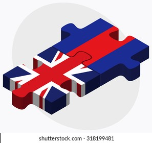 United Kingdom and Cambodia Flags in puzzle  isolated on white background