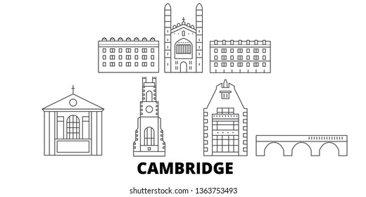 United Kingdom, Cambridge line travel skyline set. United Kingdom, Cambridge outline city vector illustration, symbol, travel sights, landmarks.