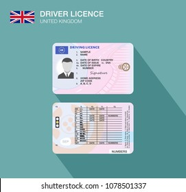 United Kingdom car driver license identification. Flat vector illustration. Great Britain.