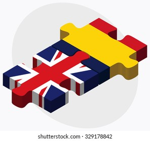 United Kingdom and Chad Flags in puzzle  isolated on white background
