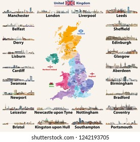 United Kingdom cities skylines. Detailed map of United Kingdom with countries (England, Wales, Scotland, Northern Ireland) and regions borders