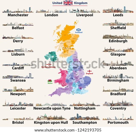 United Kingdom Cities Skylines Detailed Map Stock Vector Royalty