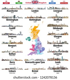 United Kingdom cities skylines icons. High detailed map of United Kingdom with countries and regions borders. All layers editable and labelled. Vector illustration