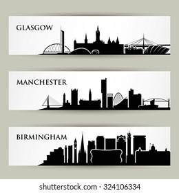United Kingdom city skylines - vector illustration